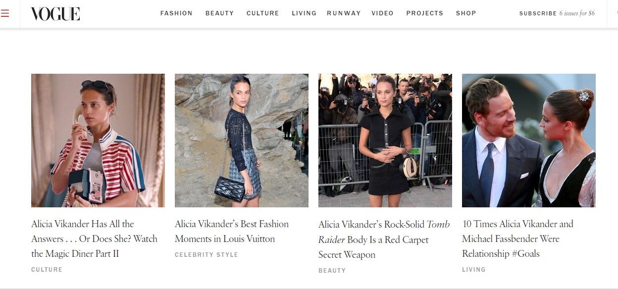 Журнал Vogue помешался на Алисии Викандер