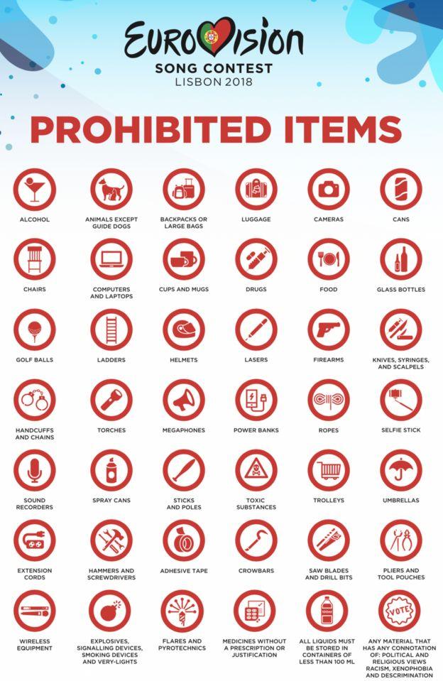 Ніяких візків і лазерів: що не можна приносити з собою на Євробачення