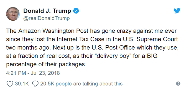 Twitter усе стерпить: Трамп знову ополчився проти Amazon