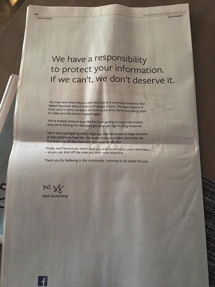 Facebook продолжает извиняться перед пользователями, скупая рекламные полосы в крупных изданиях