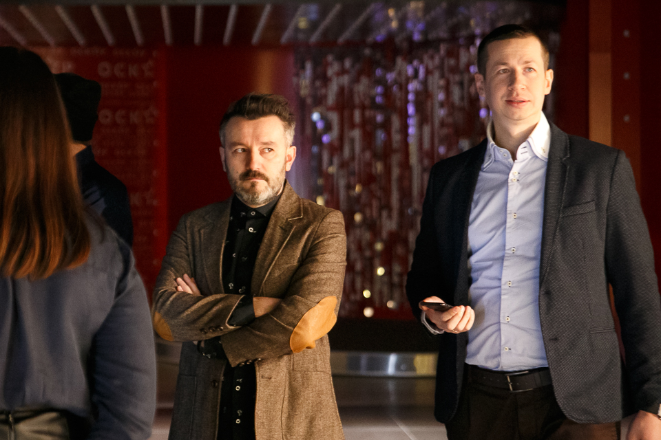 Александр Пономарев, Екатерина Кистень и Евгений Капорин на премьере фильма «Сотка»