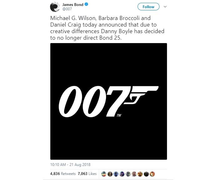 Творчі розбіжності: режисер Денні Бойл не зніматиме нового «Джеймса Бонда»