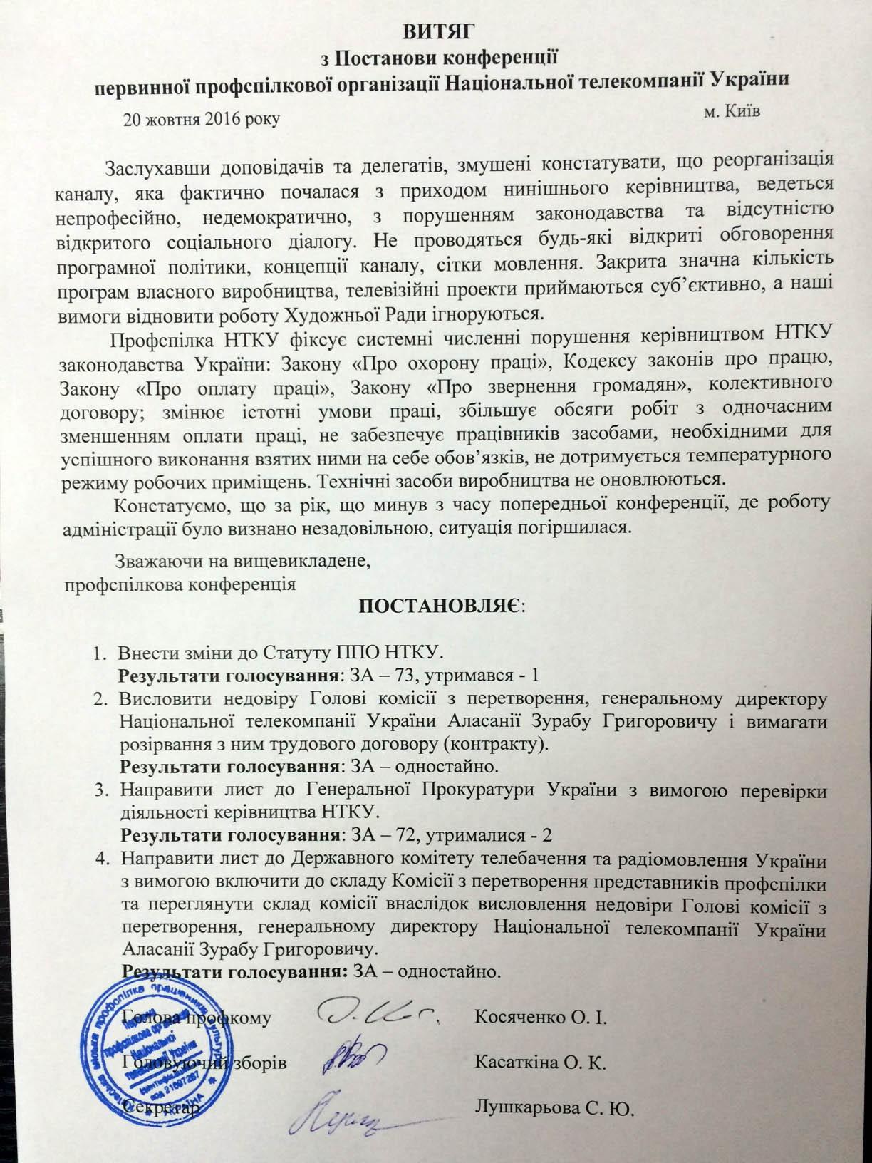 Профсоюз НТКУ выразил недоверие Зурабу Аласании и требует его отставки
